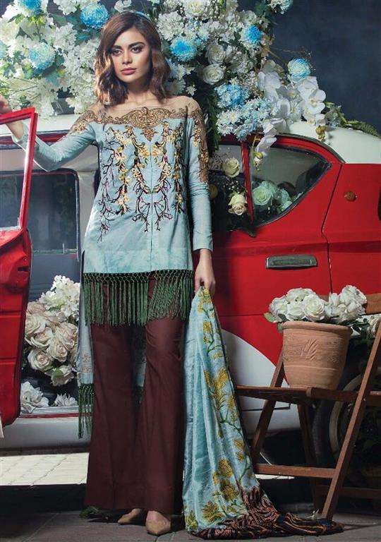 Tabassum Mughal Embroidered Lawn Unstitched 3 Piece Suit TM17E2 3A