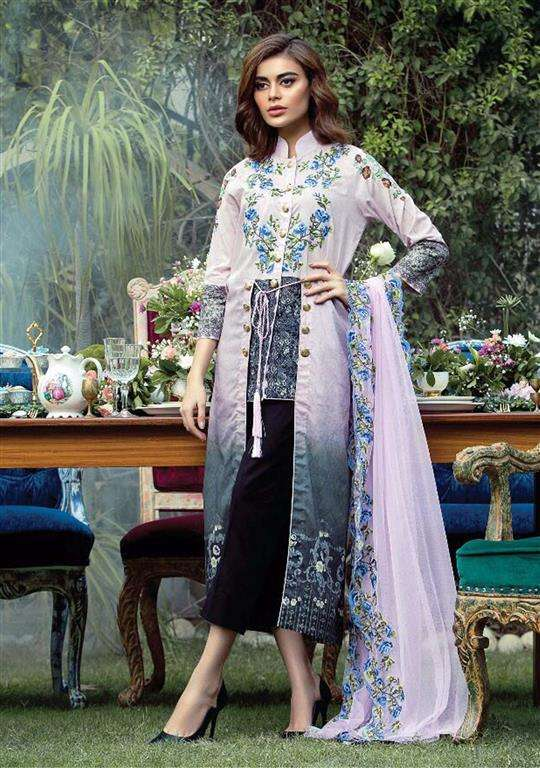 Tabassum Mughal Embroidered Lawn Unstitched 3 Piece Suit TM17E2 5A