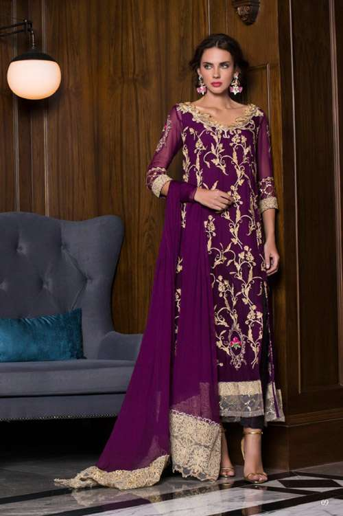Tabassum Mughal Embroidered Chiffon Unstitched 3 Piece Suit TM17E 01