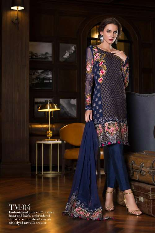 Tabassum Mughal Embroidered Chiffon Unstitched 3 Piece Suit TM17E 04