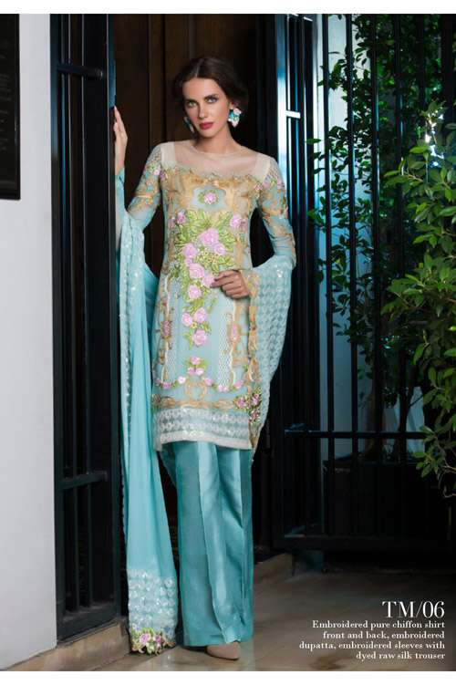 Tabassum Mughal Embroidered Chiffon Unstitched 3 Piece Suit TM17E 06