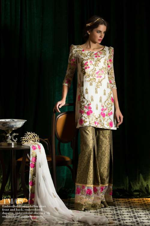 Tabassum Mughal Embroidered Chiffon Unstitched 3 Piece Suit TM17E 08