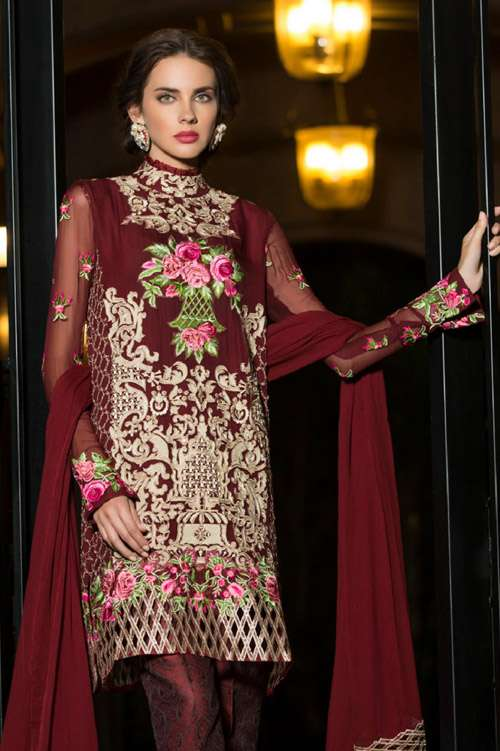 Tabassum Mughal Embroidered Chiffon Unstitched 3 Piece Suit TM17E 09