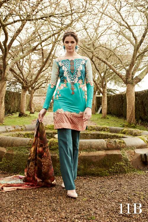 Tabassum Mughal Embroidered Lawn Unstitched 3 Piece Suit TM17L 11B