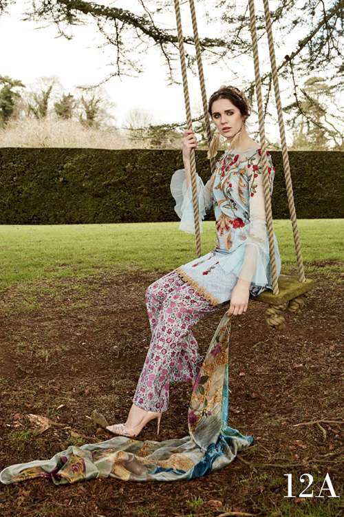 Tabassum Mughal Embroidered Lawn Unstitched 3 Piece Suit TM17L 12A