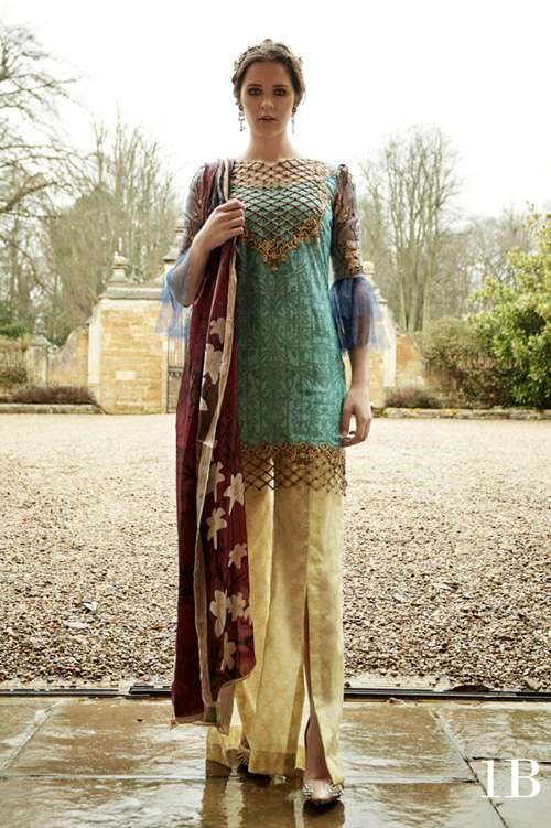 Tabassum Mughal Embroidered Lawn Unstitched 3 Piece Suit TM17L 1B
