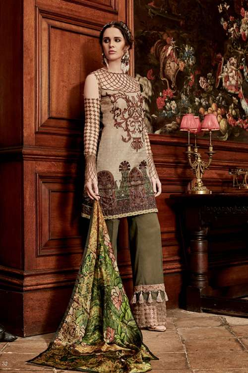 Tabassum Mughal Embroidered Lawn Unstitched 3 Piece Suit TM17L 2A