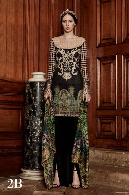 Tabassum Mughal Embroidered Lawn Unstitched 3 Piece Suit TM17L 2B