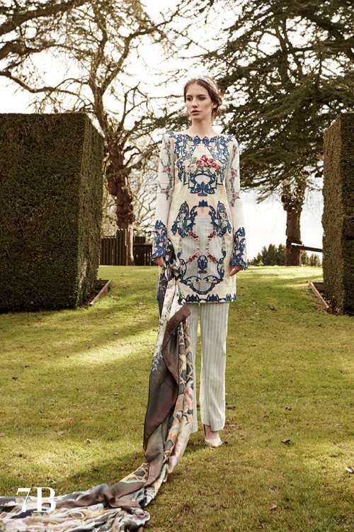Tabassum Mughal Embroidered Lawn Unstitched 3 Piece Suit TM17L 7B