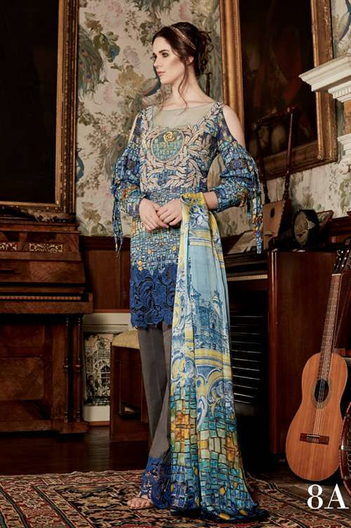 Tabassum Mughal Embroidered Lawn Unstitched 3 Piece Suit TM17L 8A