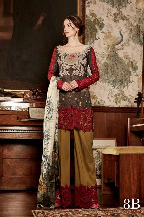 Tabassum Mughal Embroidered Lawn Unstitched 3 Piece Suit TM17L 8B