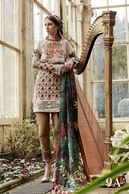 Tabassum Mughal Embroidered Lawn Unstitched 3 Piece Suit TM17L 9A