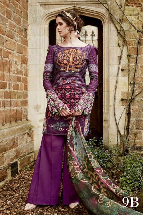 Tabassum Mughal Embroidered Lawn Unstitched 3 Piece Suit TM17L 9B