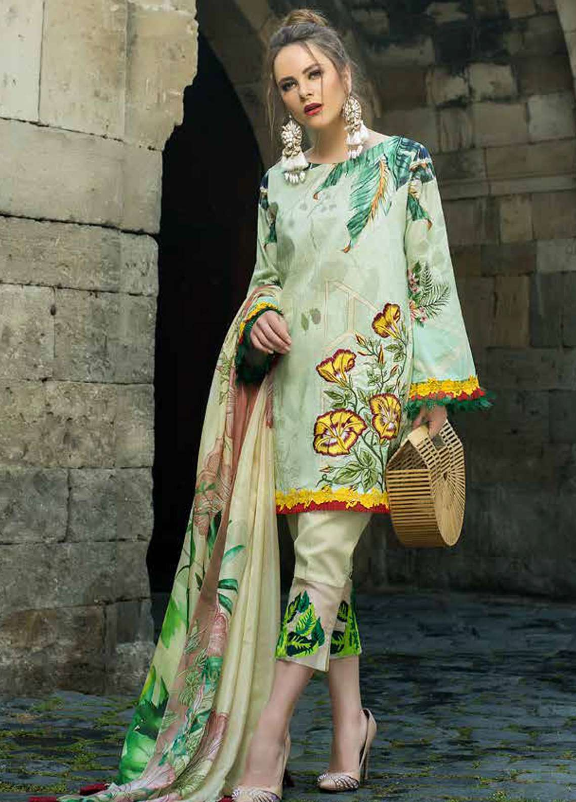 Tabassum Mughal Embroidered Lawn Unstitched 3 Piece Suit TM18F 10 - Eid Collection