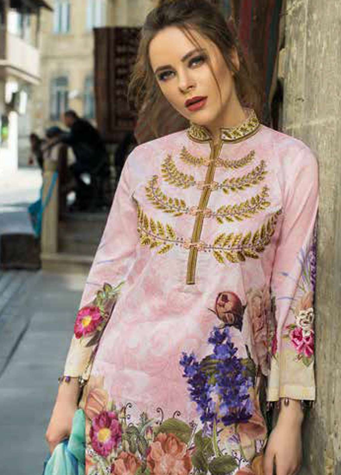Tabassum Mughal Embroidered Lawn Unstitched 3 Piece Suit TM18F 11 - Eid Collection