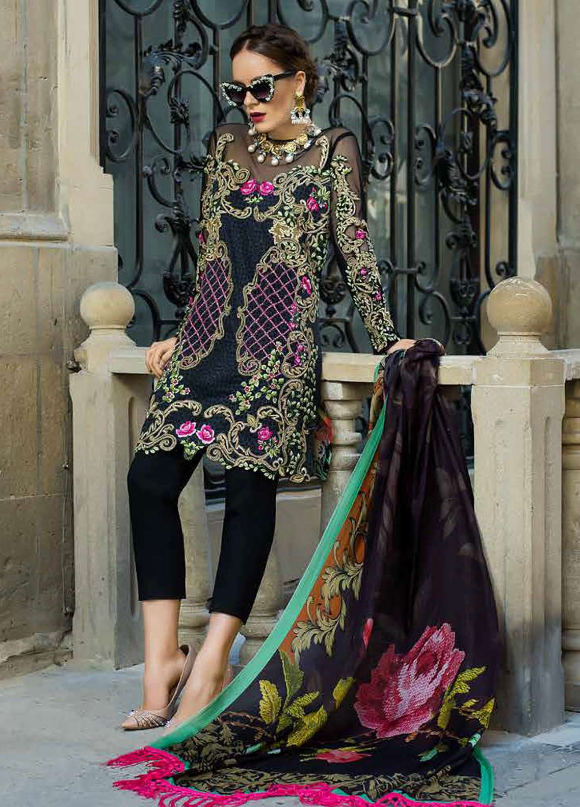Tabassum Mughal Embroidered Lawn Unstitched 3 Piece Suit TM18F 8B - Eid Collection