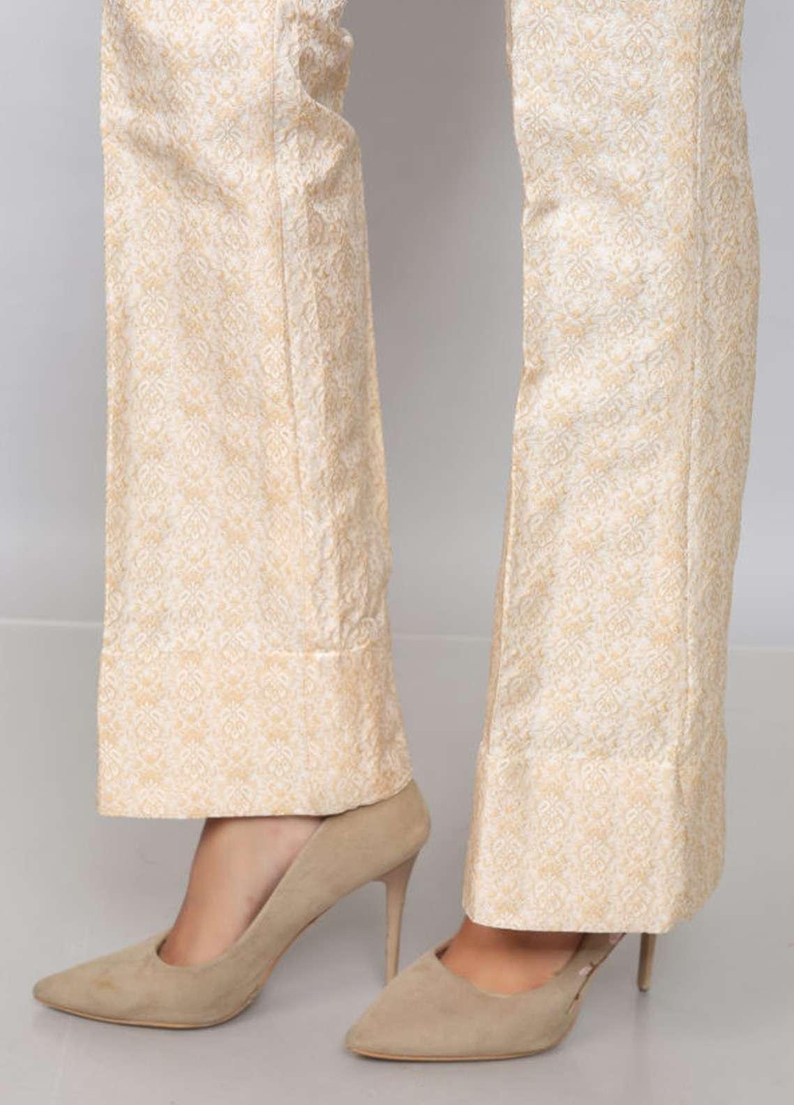 Kross Kulture Textured Jamawar Stitched Trousers EXTR-198026 B Beige