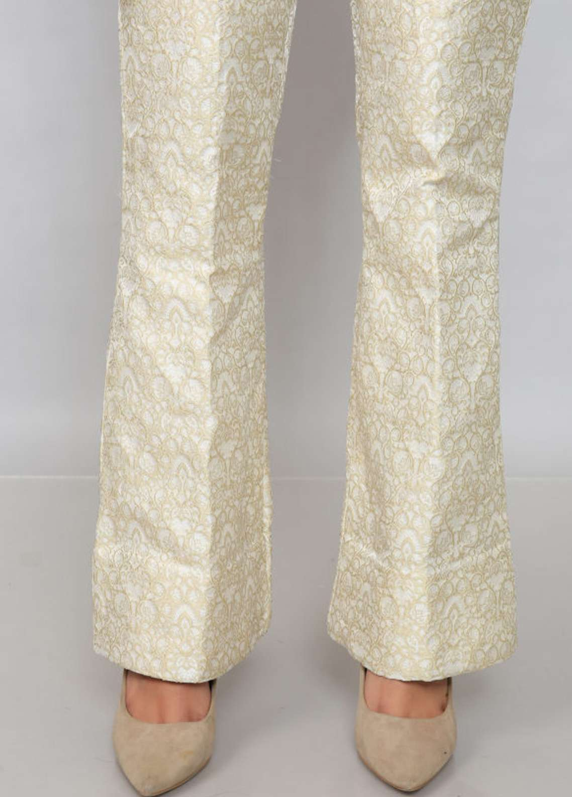 Kross Kulture Textured Jamawar Stitched Trousers EXTR-198026 B Cream