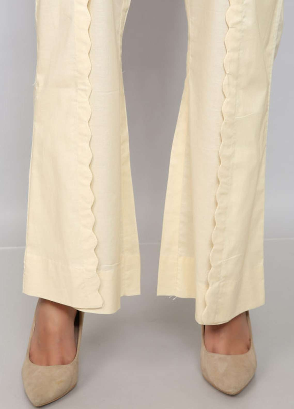 Kross Kulture Textured Jacquard Stitched Trousers PTR-198004 B Off-White