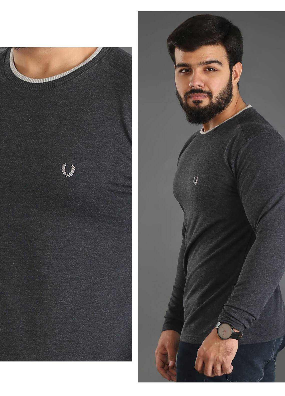 UC Clothing Jersey Plain Texture T-Shirts for Men - Grey UC18TS 03