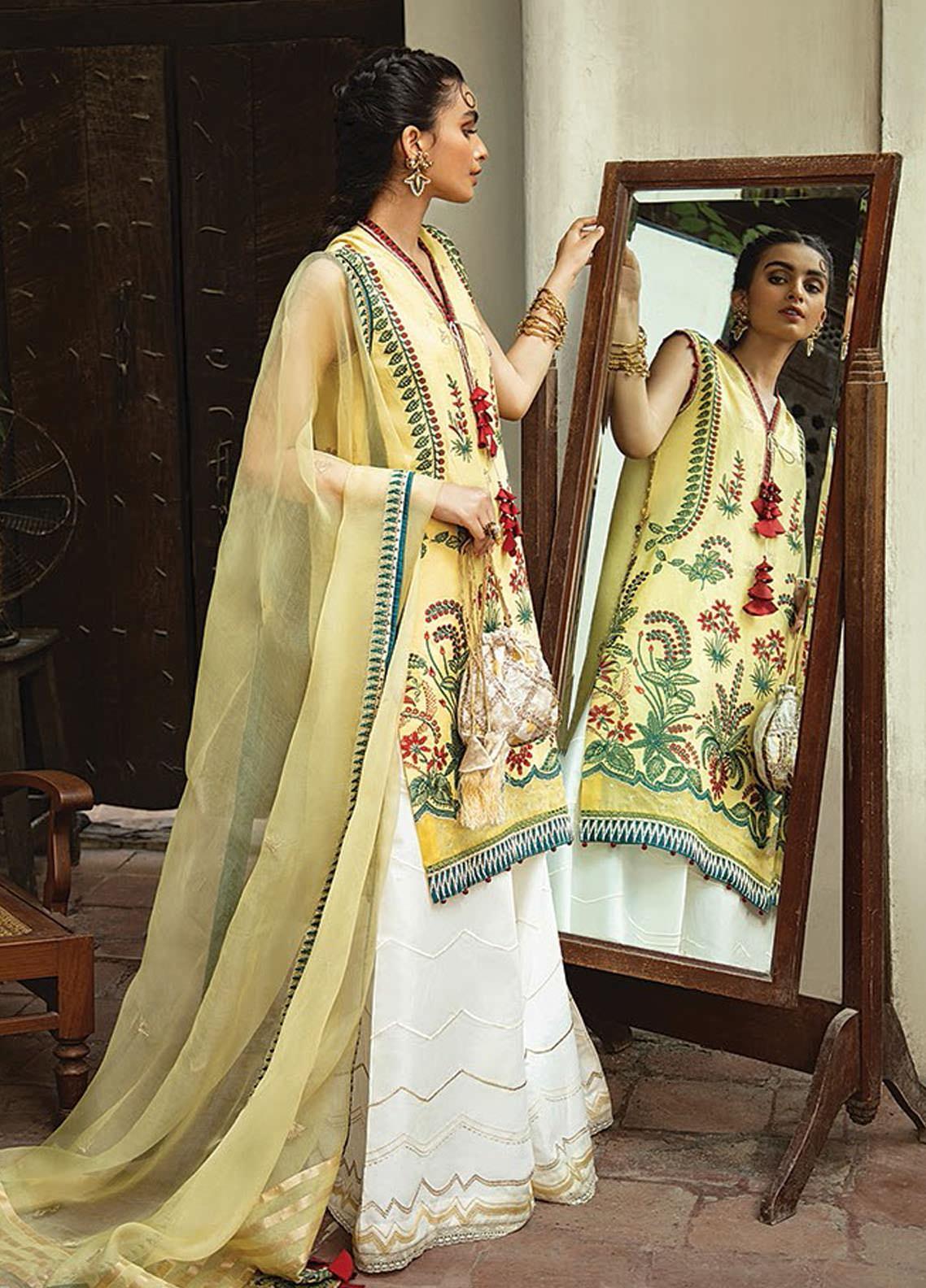Vaada by Republic Womenswear Embroidered Jacquard Unstitched 3 Piece Suit RW20V 06-B ZEENIYA - Eid Collection