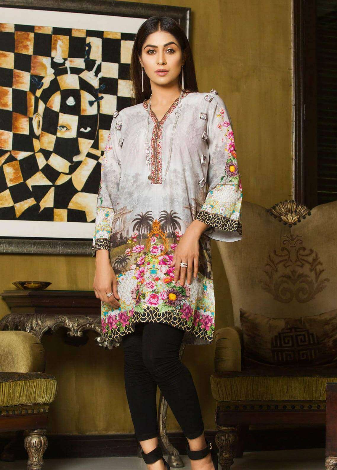 Veena Durrani Printed Lawn Unstitched Kurties VD18K 01 - Summer Collection