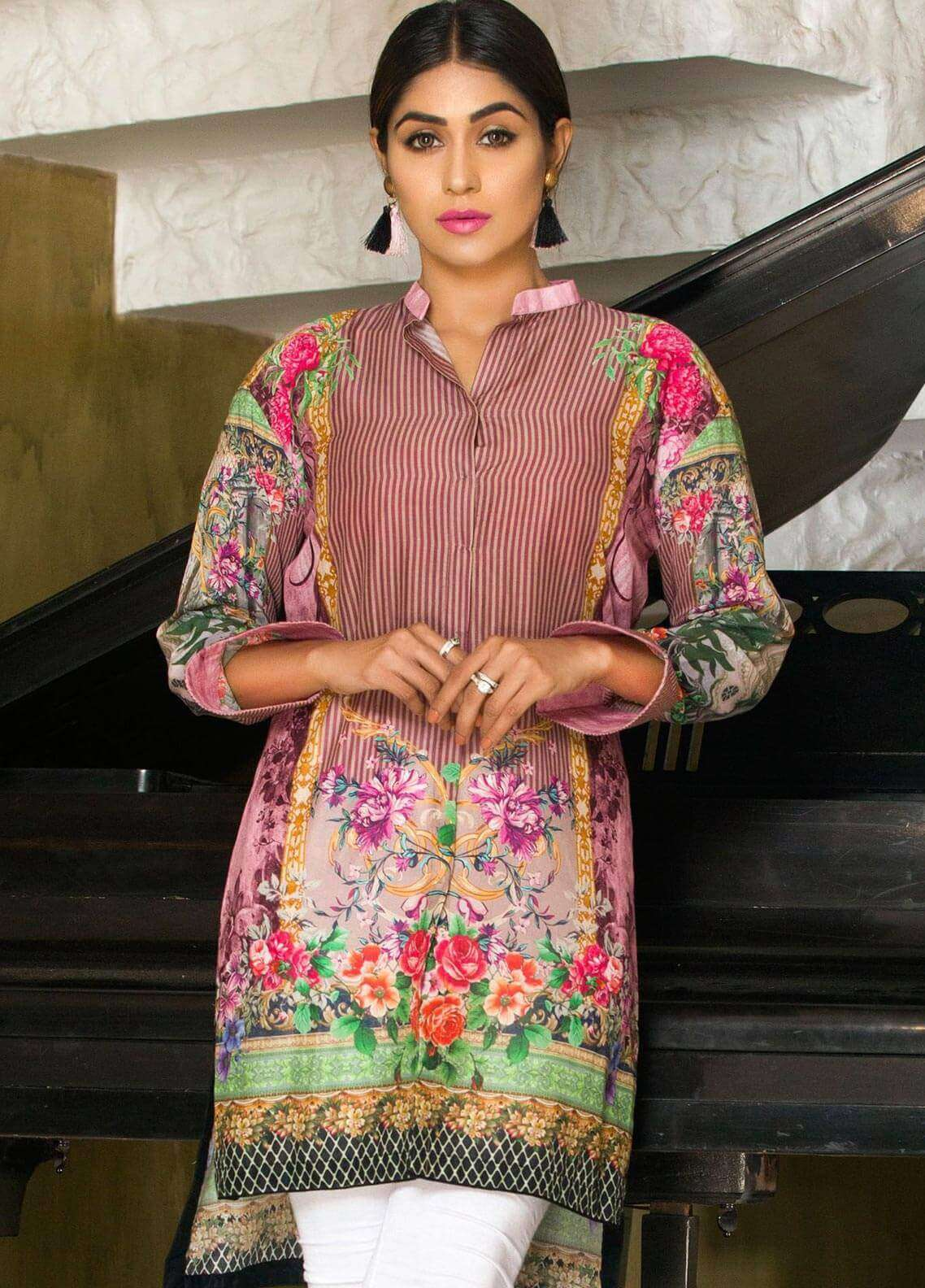 Veena Durrani Printed Lawn Unstitched Kurties VD18K 04 - Summer Collection