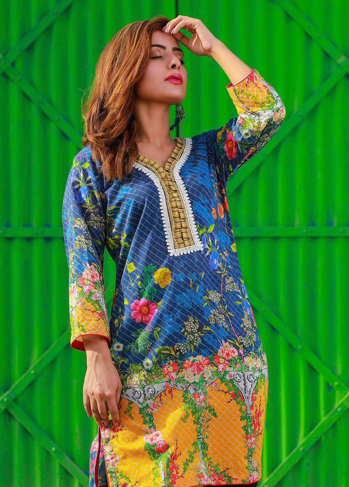 Veena Durrani Printed Lawn Unstitched Kurties VD18K 09 - Summer Collection
