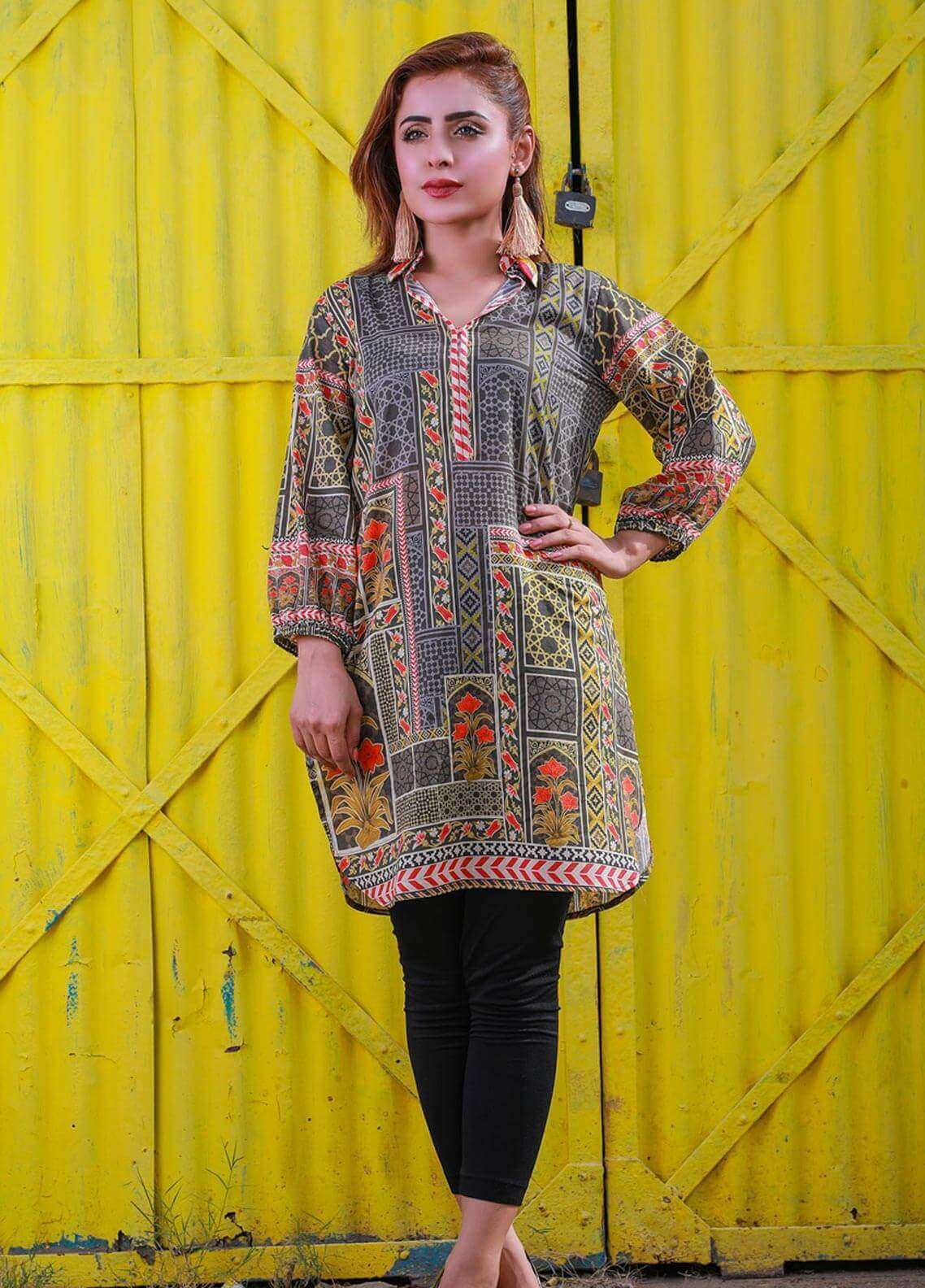 Veena Durrani Printed Lawn Unstitched Kurties VD18K 11 - Summer Collection