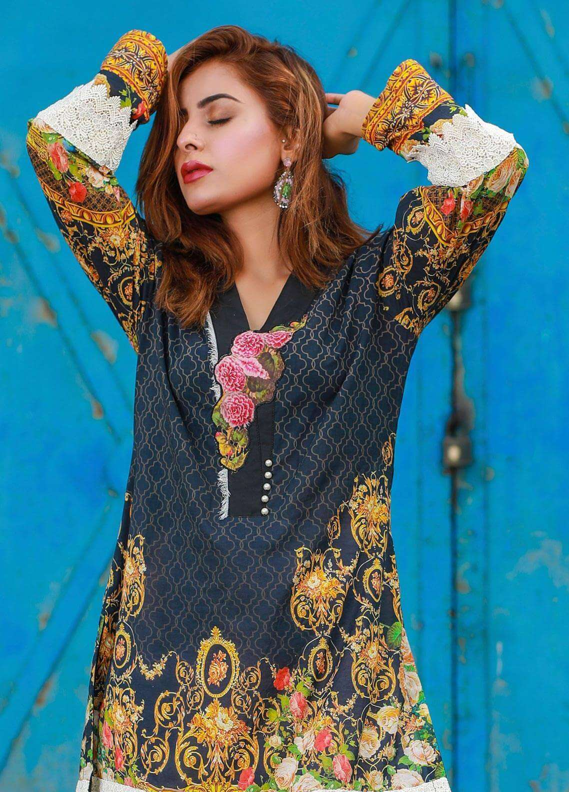 Veena Durrani Printed Lawn Unstitched Kurties VD18K 12 - Summer Collection