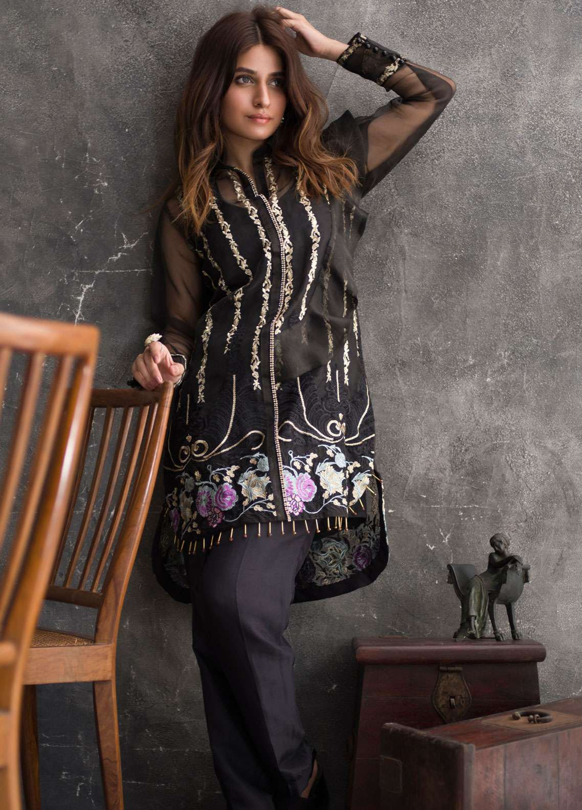 Veena Durrani Embroidered Chiffon Unstitched Kurties VD18EK 02 - Luxury Collection