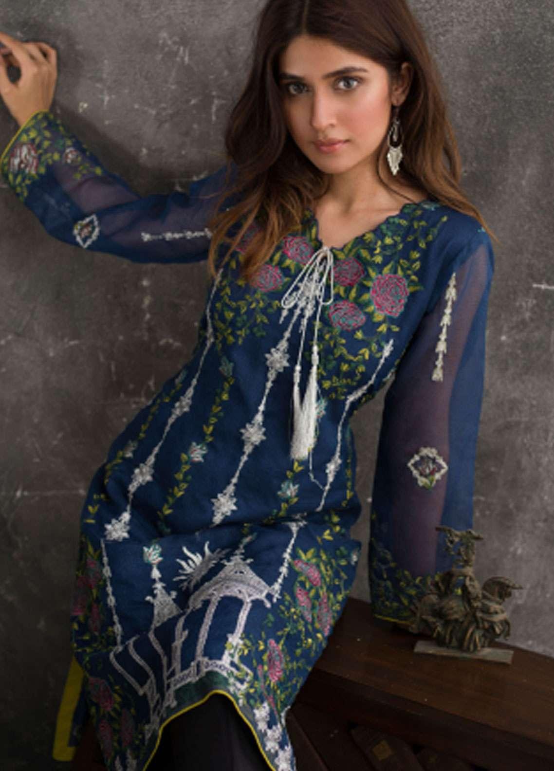 Veena Durrani Embroidered Chiffon Unstitched Kurties VD18EK 06 - Luxury Collection