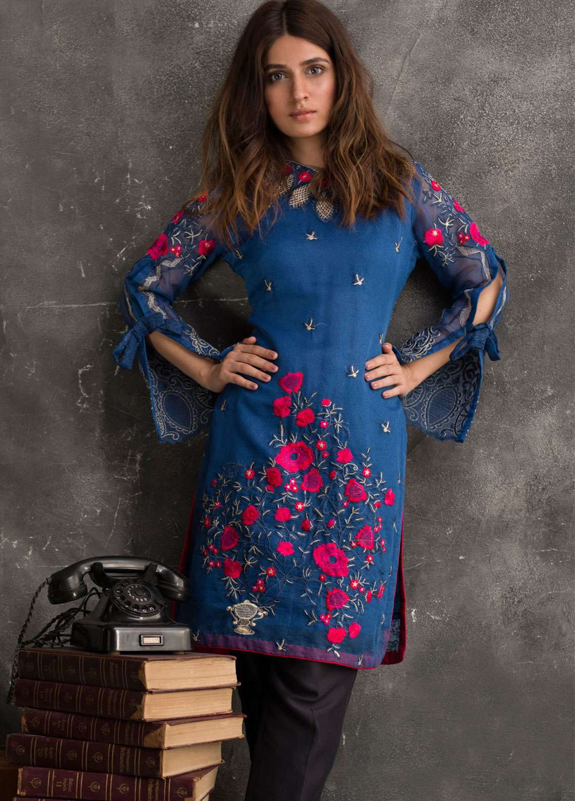 Veena Durrani Embroidered Chiffon Unstitched Kurties VD18EK 08 - Luxury Collection