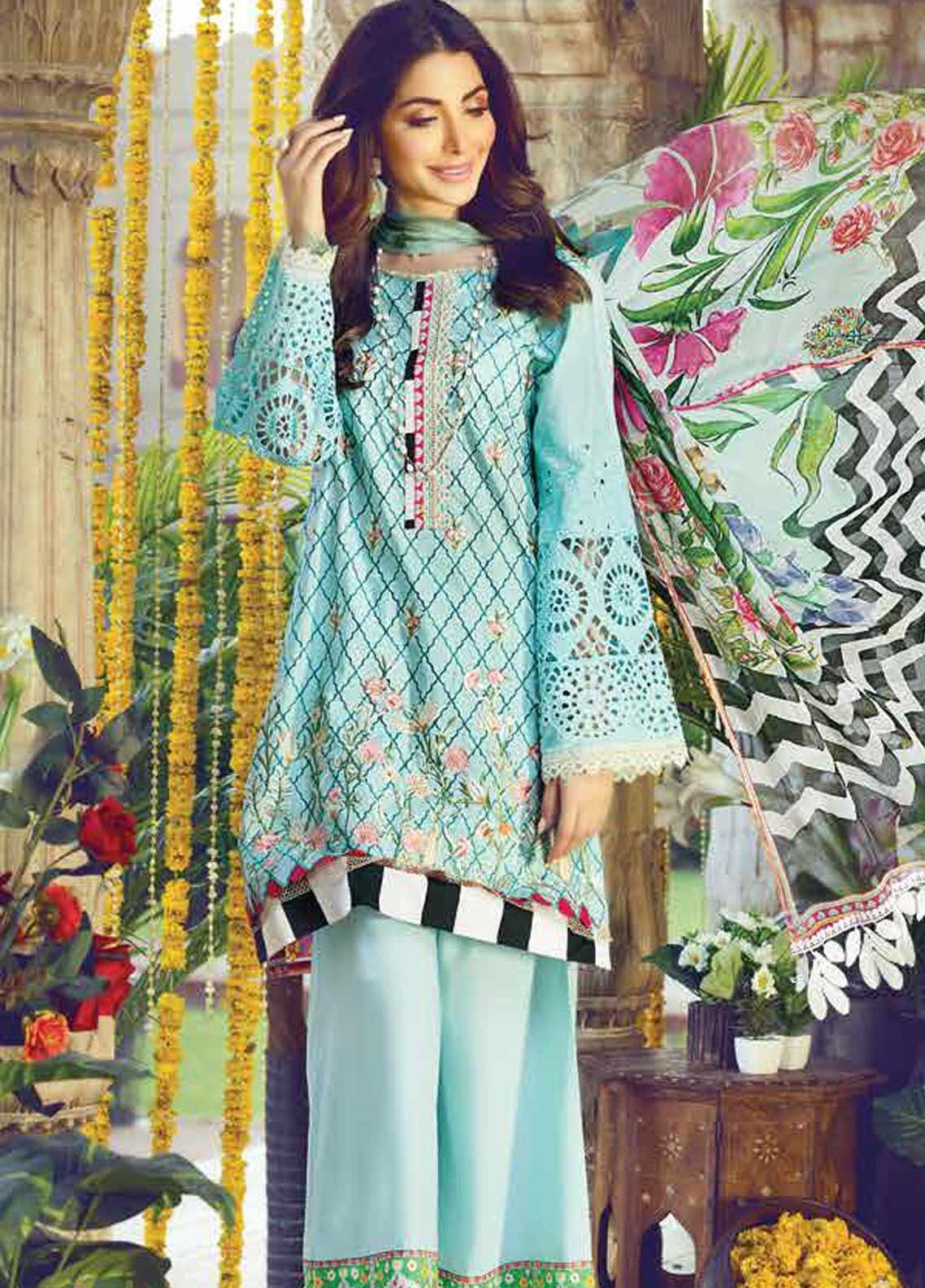 Vesttire Embroidered Lawn Unstitched 3 Piece Suit VS19F-28 AQUA BLISS - Festive Collection
