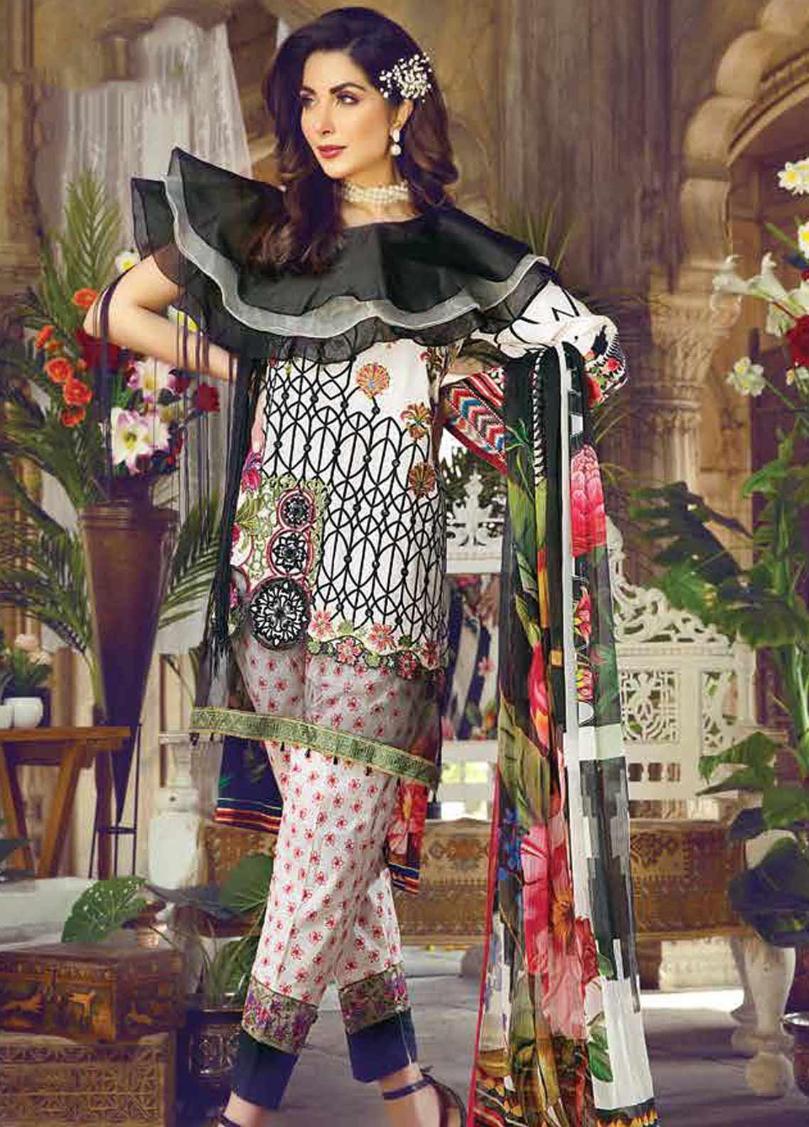 Vesttire Embroidered Lawn Unstitched 3 Piece Suit VS19F-29 NOIR COMBO - Festive Collection
