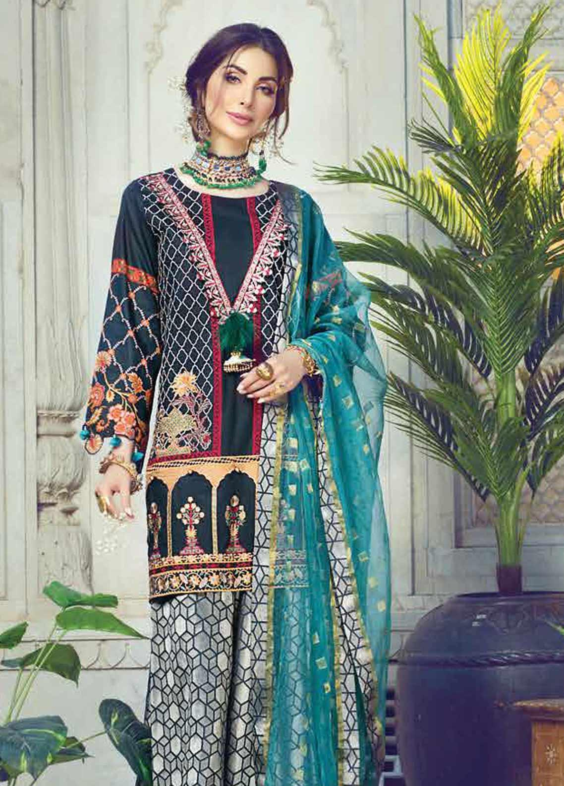 Vesttire Embroidered Lawn Unstitched 3 Piece Suit VS19F-30 MUGHAL MAHRAANI - Festive Collection