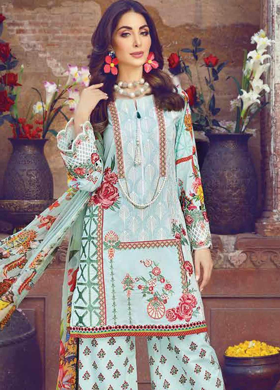 Vesttire Embroidered Lawn Unstitched 3 Piece Suit VS19F-31 FLORID TAPESTRY - Festive Collection