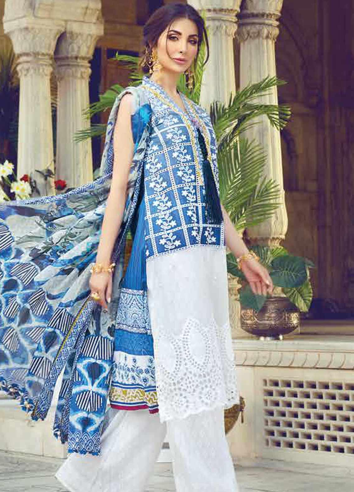 Vesttire Embroidered Lawn Unstitched 3 Piece Suit VS19F-32 IKAT AZURE - Festive Collection