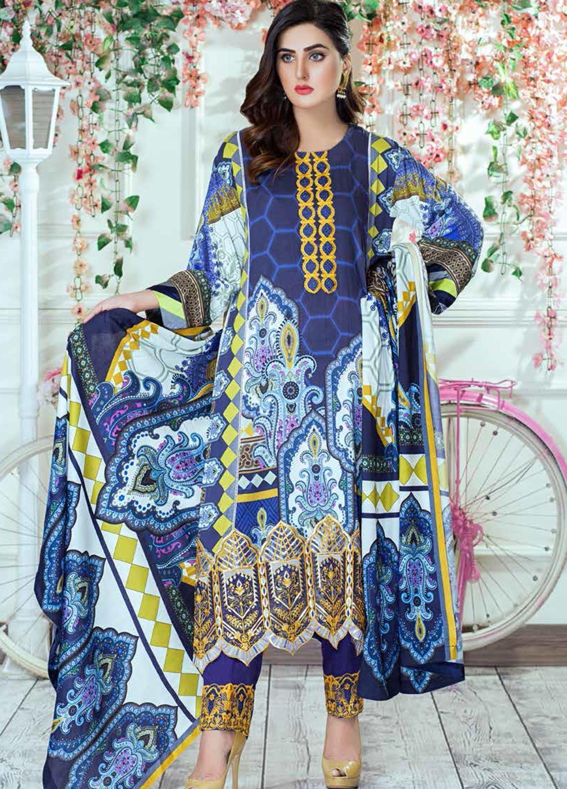Vesttire Embroidered Cottel Linen Unstitched 3 Piece Suit VS19W 0037 BLUE NILE - Winter Collection