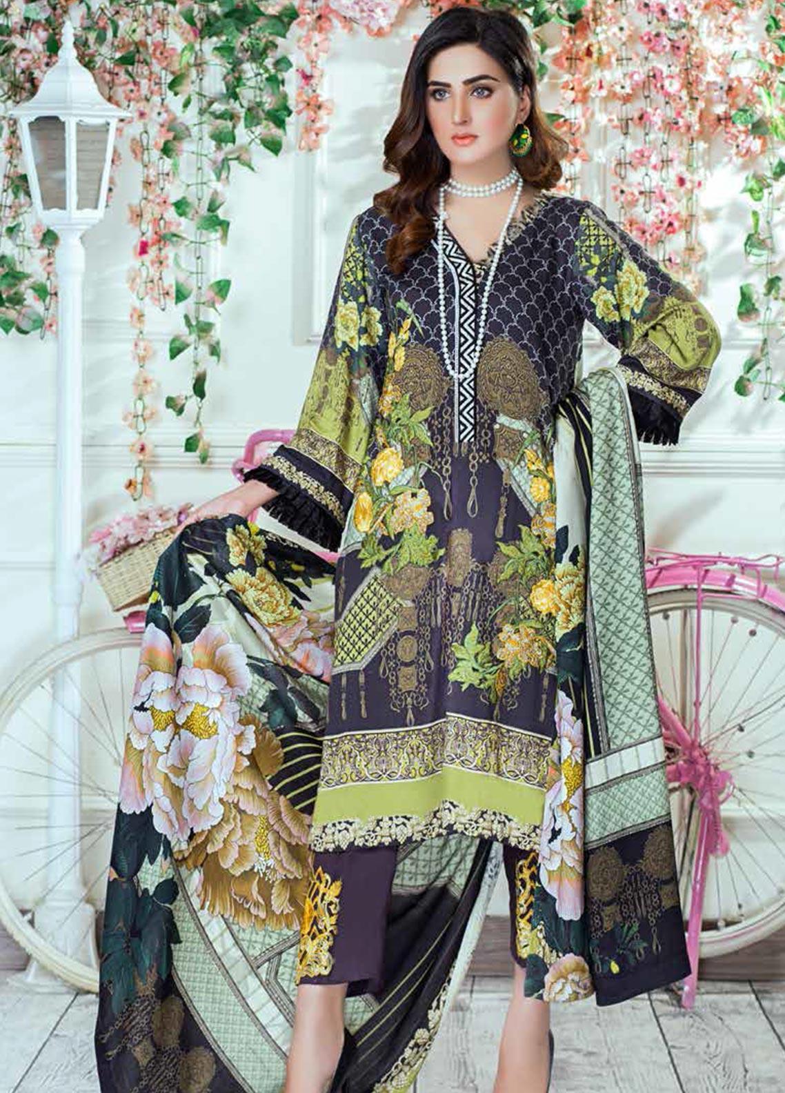 Vesttire Embroidered Cottel Linen Unstitched 3 Piece Suit VS19W 0038 LIME ZEST - Winter Collection