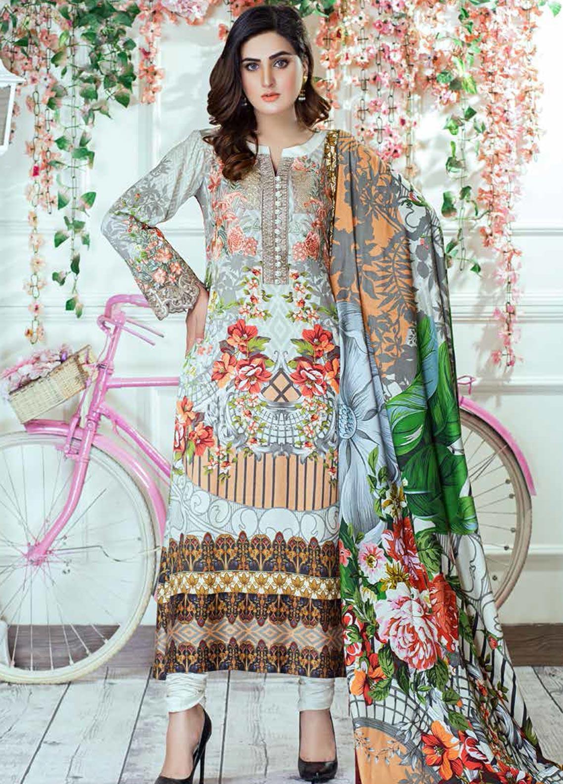 Vesttire Embroidered Cottel Linen Unstitched 3 Piece Suit VS19W 0039 PEACHES N CREAM - Winter Collection