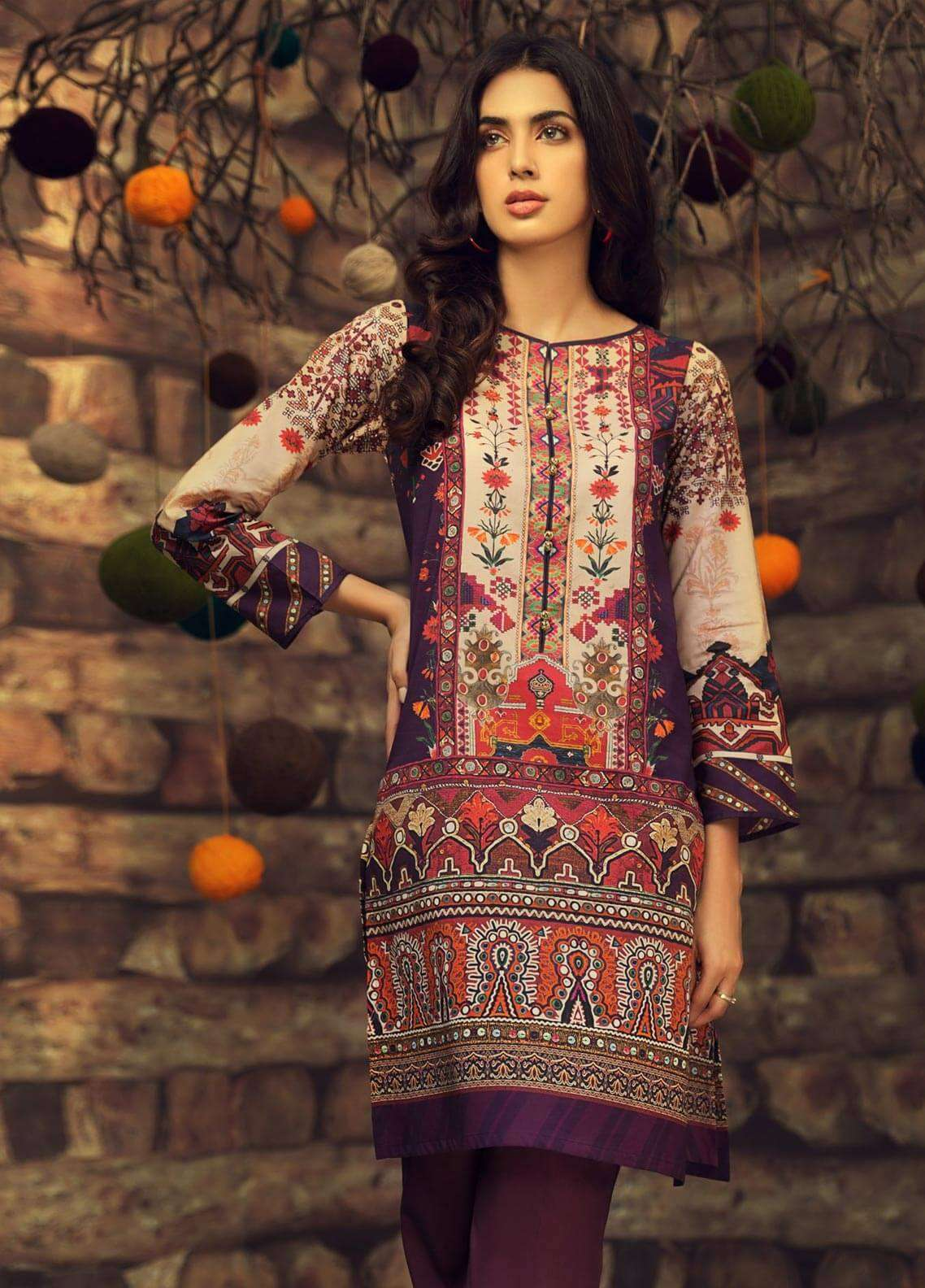 LimeLight Printed Cambric Unstitched Kurties VITAL COLLISION (PLUM) - Cambric Collection