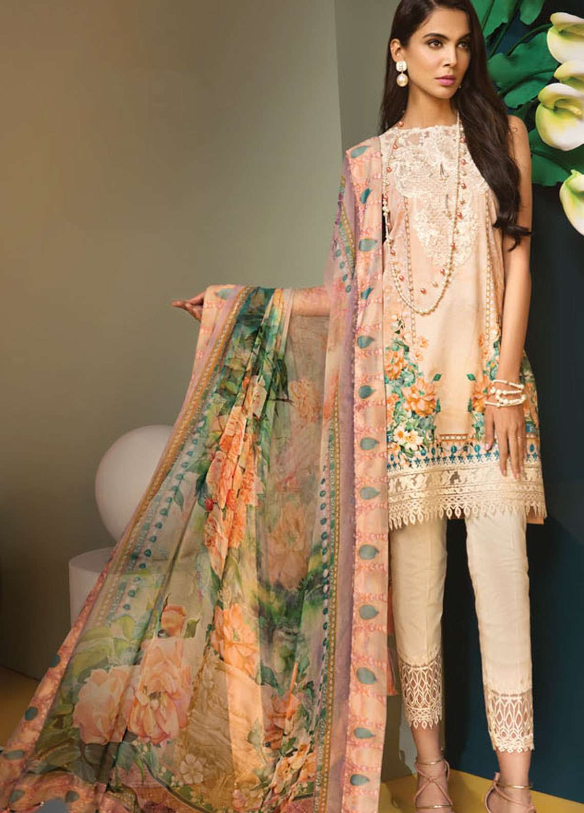 Anaya By Kiran Chaudhry Embroidered Lawn Unstitched 3 Piece Suit AKC19VL 03 PENELOPE - Spring / Summer Collection