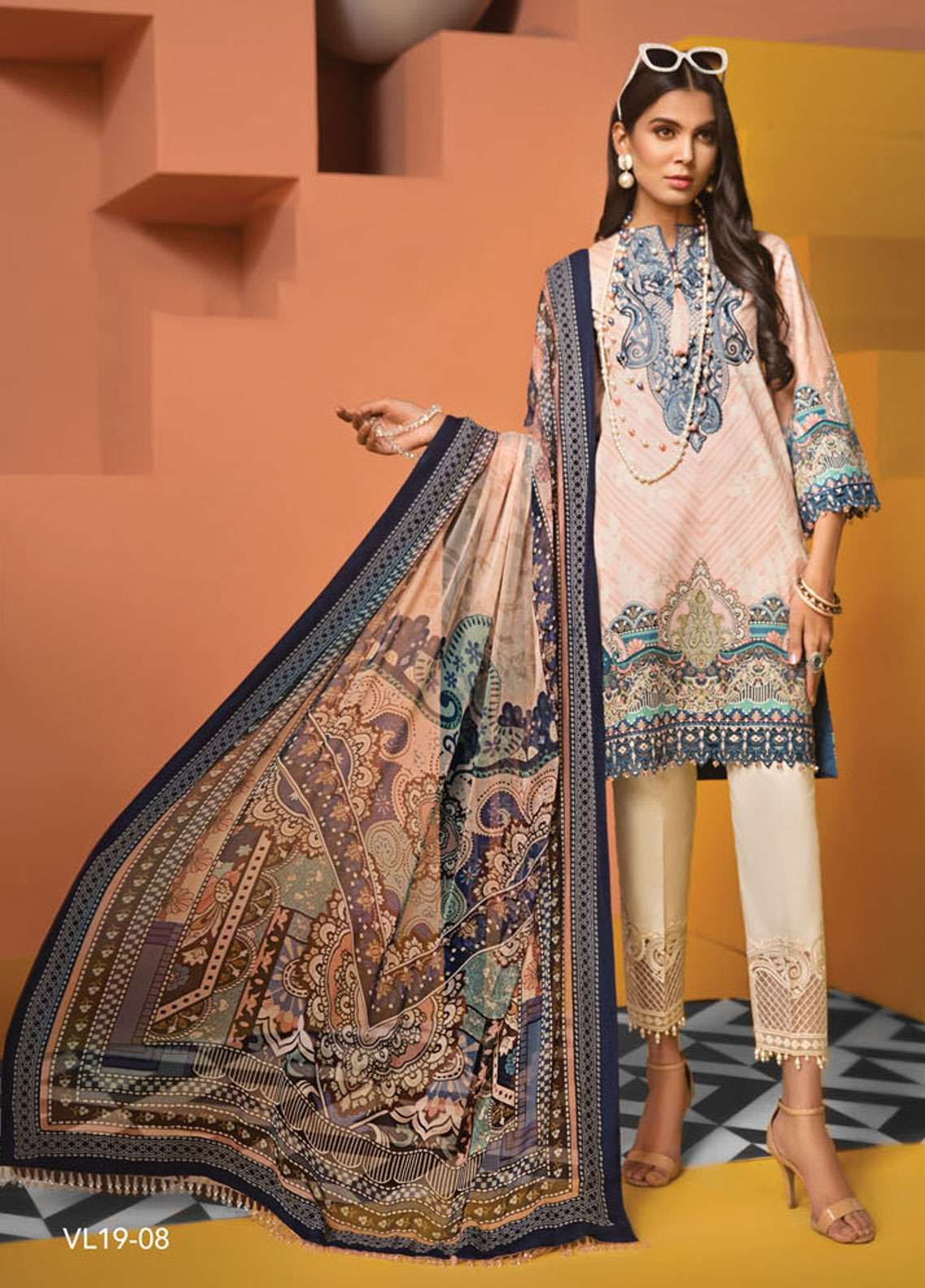 Anaya By Kiran Chaudhry Embroidered Lawn Unstitched 3 Piece Suit AKC19VL 08 ANGELINA - Spring / Summer Collection