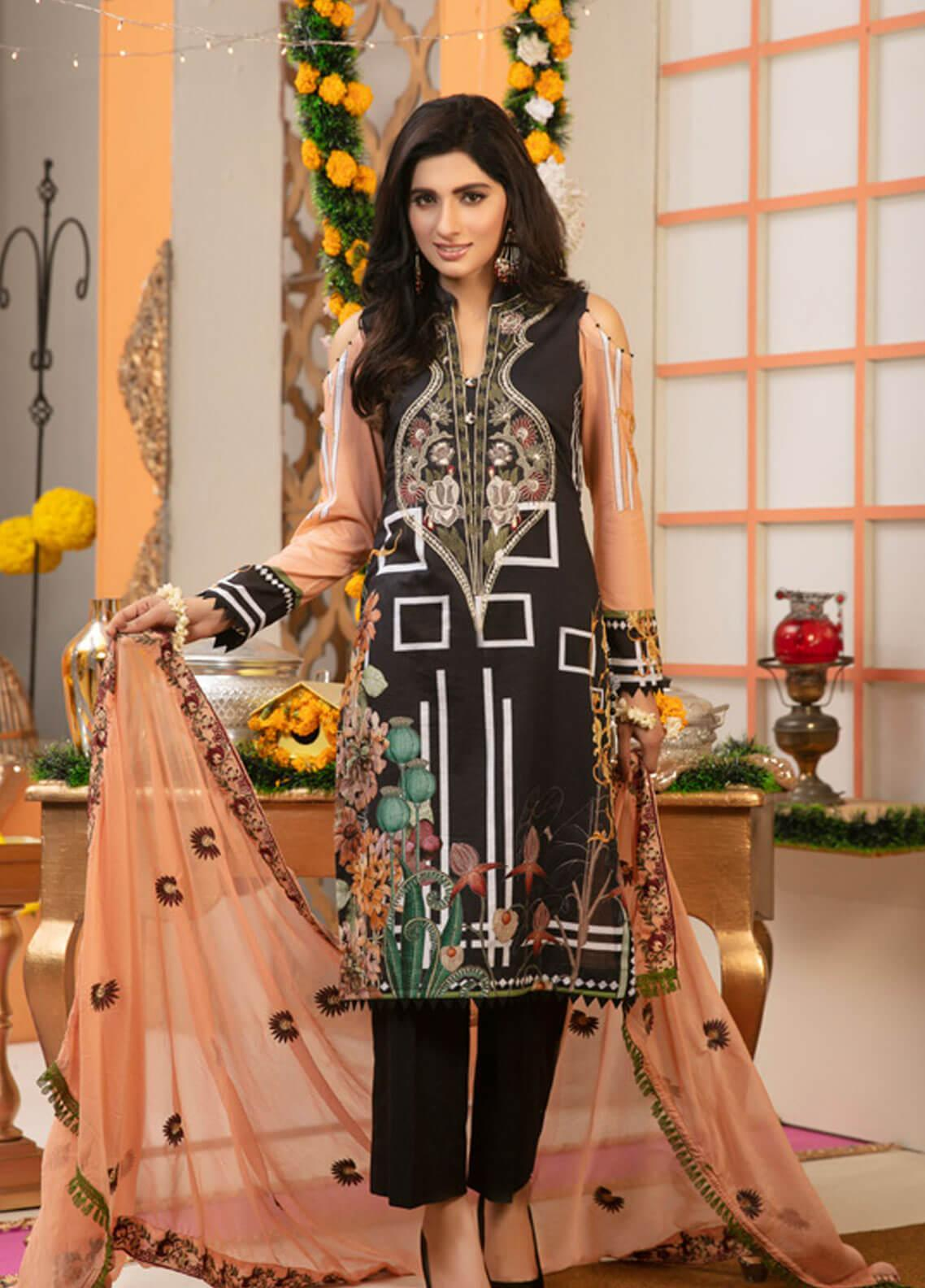 Zohan Textile Embroidered Lawn Unstitched 3 Piece Suit VOG19L 6 - Eid Collection