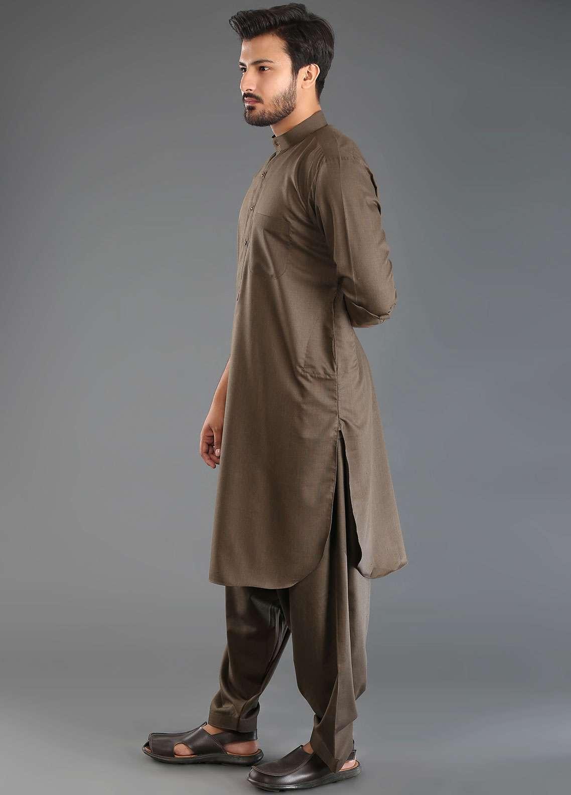Sanaulla Exclusive Range Wash N Wear Formal Kameez Shalwar for Men - Brown SKS18W 03