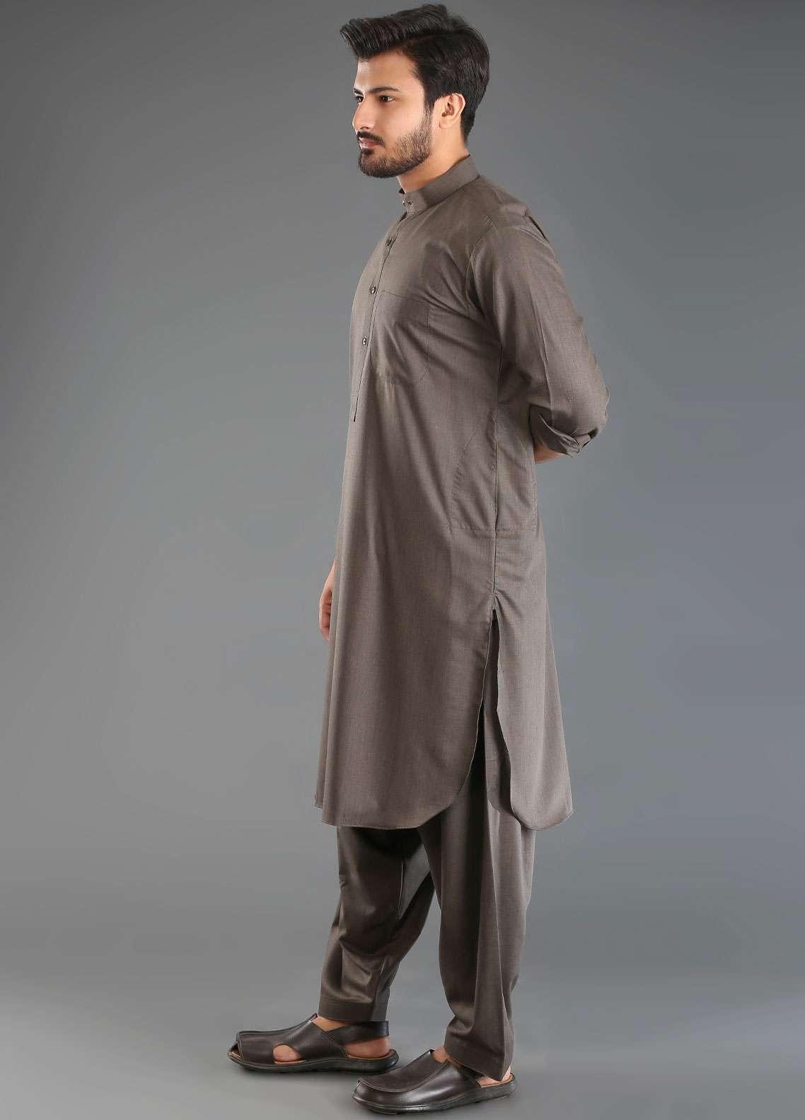 Sanaulla Exclusive Range Wash N Wear Formal Kameez Shalwar for Men - Brown SKS18W 05