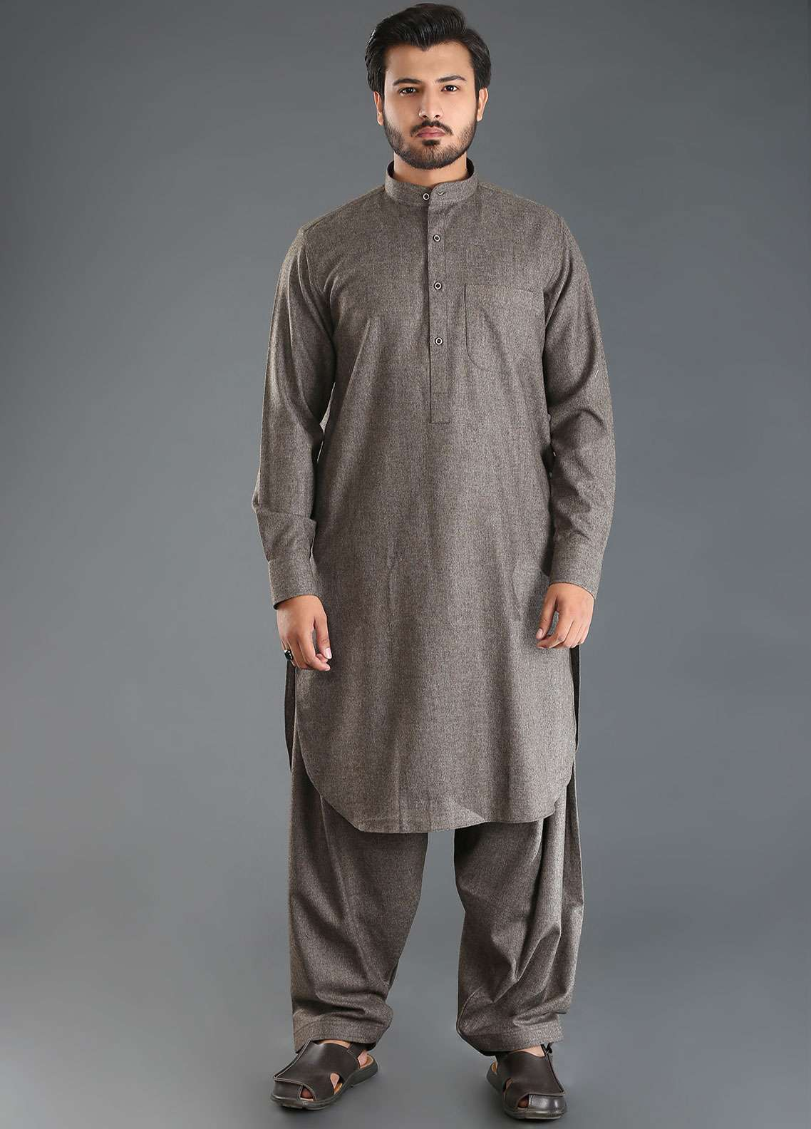 Sanaulla Exclusive Range Wash N Wear Woolen Kameez Shalwar for Men - Grey SKS18W 07