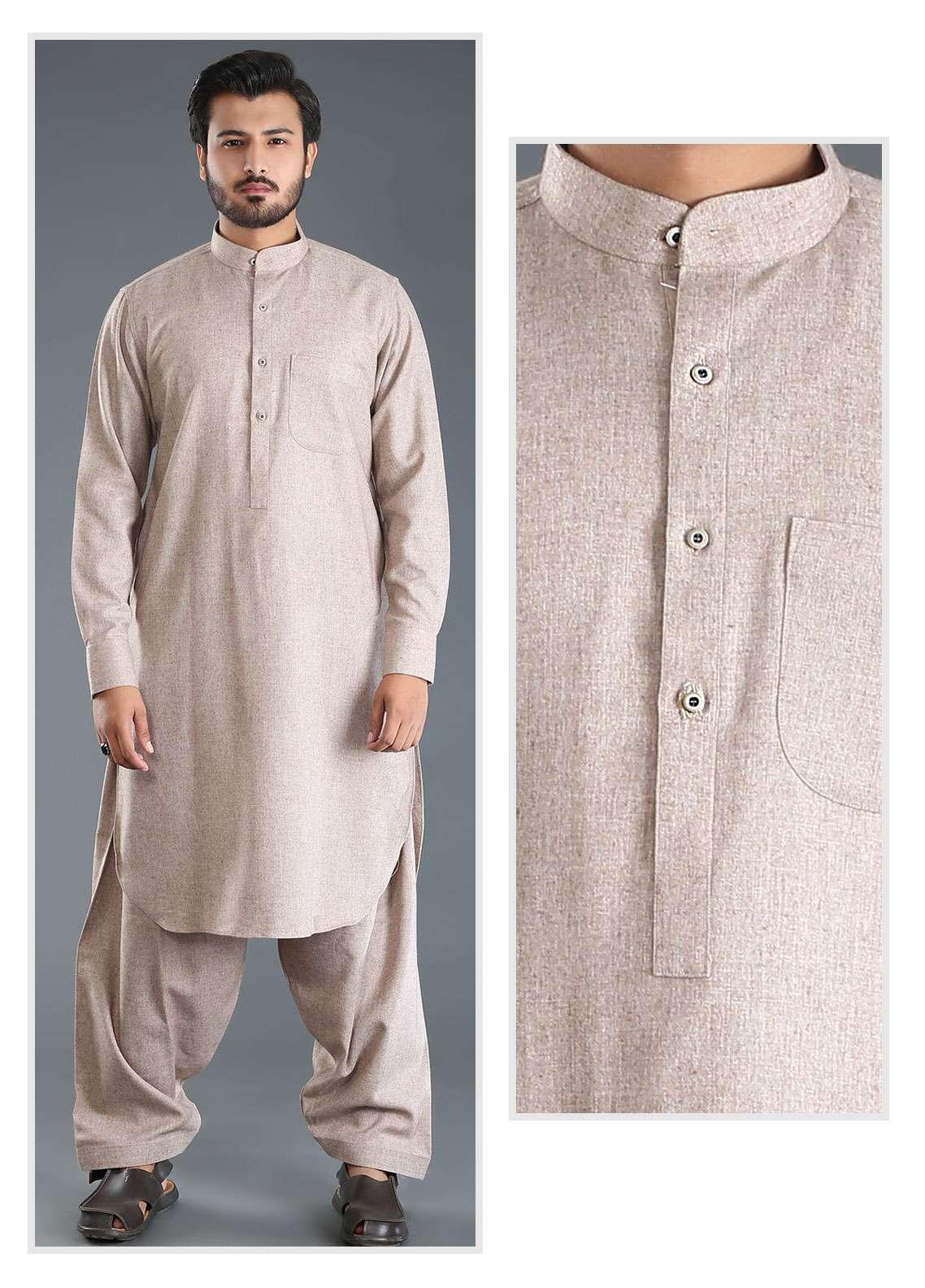 Sanaulla Exclusive Range Wash N Wear Woolen Men Kameez Shalwar - Brown SKS18W 08