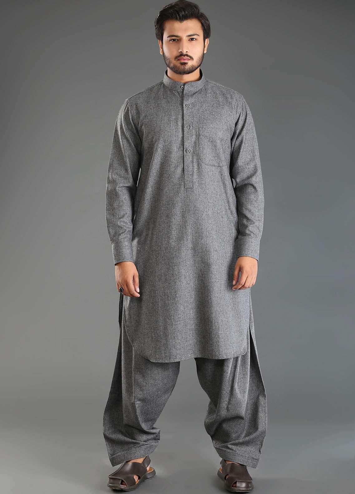 Sanaulla Exclusive Range Wash N Wear Woolen Kameez Shalwar for Men - Grey SKS18W 09